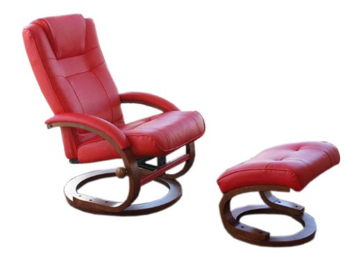 Mendler Fernsehsessel Relaxsessel Sessel Pescatori, Kunstleder, mit Hocker ~ rot
