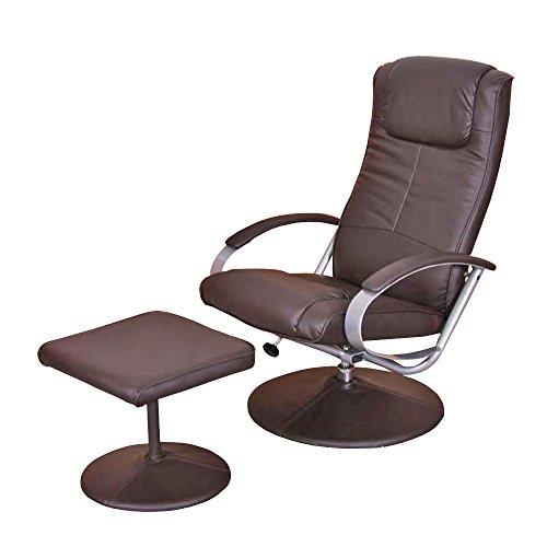 Mendler Relaxliege Relaxsessel Fernsehsessel N44 mit Hocker ~ braun