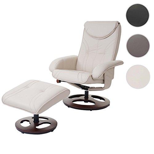 Mendler Relaxsessel HWC-C46, Fernsehsessel Sessel mit Hocker, Kunstleder ~ Creme