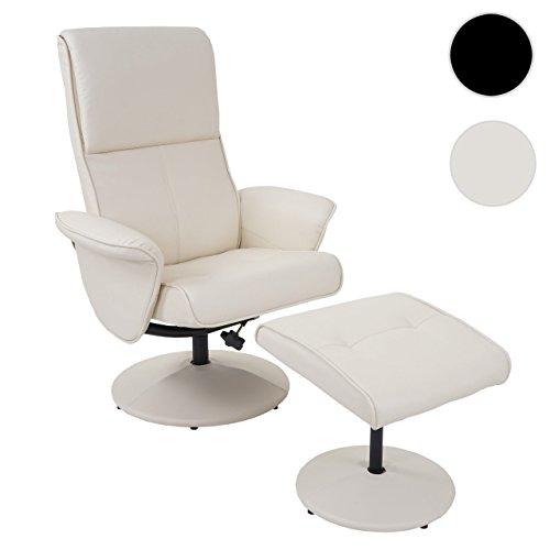 Mendler Relaxsessel Helsinki, Fernsehsessel Relaxliege TV-Sessel mit Hocker ~ Kunstleder, Creme