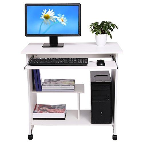 Modrine Computertisch Beweglicher PC Tisch Schreibtisch mit Keyboardständer und Rolle für Hause und Bürosarbeit (Weiß)