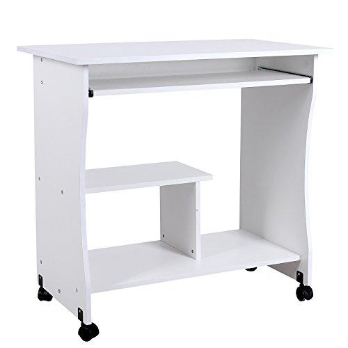 SONGMICS Beweglicher Schreibtisch Computertisch mit Ablagen Tastaturauszug 80 x 48 x 76 cm PC Tisch LCD858W