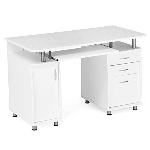 SONGMICS Computertisch, MDF, weiß, 121 x 60 x 76 cm