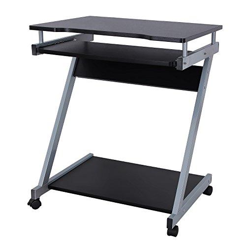 SONGMICS Schreibtisch Computertisch mit Bremsen Ausgestatteten Rollen und Leichtgängiger Tastaturauszug,Erleichtert die Montage Platzsparend Z Form PC Tisch 60 x 48 x 73 cm Schwarz LCD811B