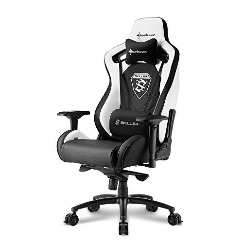 Sharkoon Skiller SGS4 Komfortabler Gaming Seat mit extragroßer Sitzfläche, 150 kg belastbar, Kunstleder, Aluminiumfußkreuz, 75 mm Rollen mit Bremsfunktion, 4-Wege-Armlehnen, Stahlrahmen, schwarz/weiß
