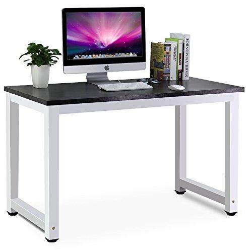 Tribesigns Moderner Schreibtisch Computertisch PC Tisch 25MM DICKE Bürotisch Arbeitstisch für Home Office Arbeitzimmer ,Schreibtisch für Kinder/Studenten in Kinderzimmer, 120cm(L) x 60cm(D) x 74cm(H) (Schwarz/Weiss)