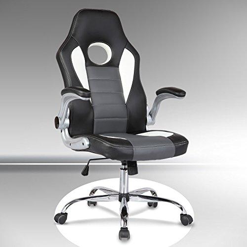 UEnjoy Gaming Stuhl Racing Stuhl Leder Bürostuhl Chefsessel Schreibtischstuhl mit Armlehnen & Höhenverstellung & Wippfunktion & Kopfkissen Schwarz/Weiß