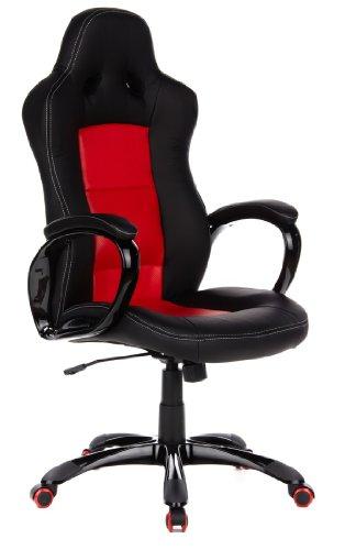 hjh OFFICE 621740 Gaming PC Stuhl PACE 300 Kunstleder schwarz rot, feste Polsterung, ideal zum Zocken, Chefsessel, feste Armlehnen, Bürostuhl, Racer, Racing Stuhl, Gamer Stuhl, Chefsessel