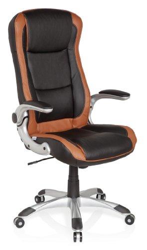 hjh OFFICE 621770 Gaming PC Stuhl RACER COMPACT Kunstleder hellbraun, hohe Rückenlehne, feste Polsterung, ideal zum Zocken, abklappbare Armlehnen, Bürostuhl Sessel, Racing Stuhl, XXL Chefsessel