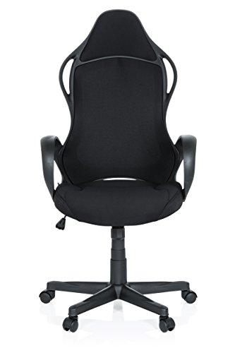 hjh OFFICE 621945 Gaming Stuhl Racer Xts Stoff Schwarz Racing Chair Chefsessel mit Armlehne und Wippfunktion