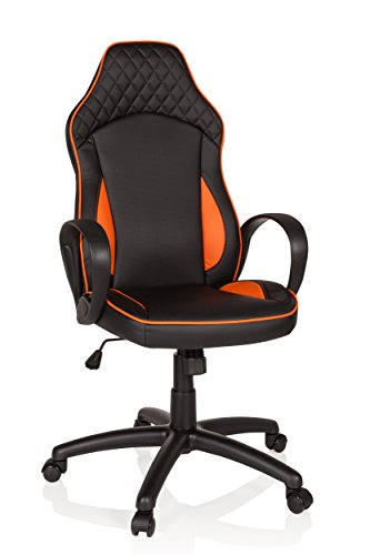hjh OFFICE 621948 Racing Chefsessel BAZA Kunstleder Schwarz/Orange Gamingstuhl mit Wippfunktion
