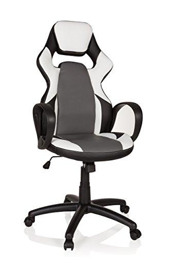 hjh OFFICE 621949 Gaming Stuhl Ranger Kunstleder Schwarz/Weiß Drehstuhl in Racing-Optik, bis 120 kg