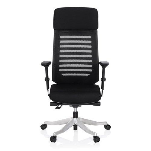 hjh OFFICE 640220 Schreibtisch-Stuhl ASGON Stoff Schwarz Ergonomisch Höhenverstellbar Armlehne Netz-Rücken