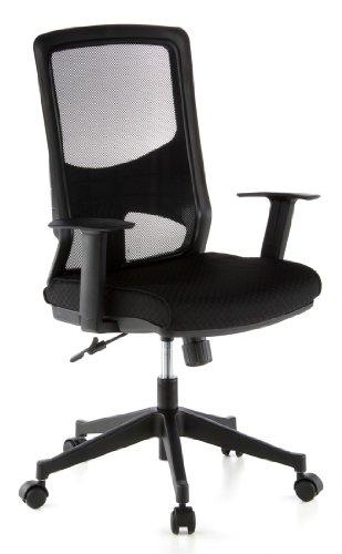 hjh OFFICE 653100 Bürostuhl LAVITA Netz-Stoff Schwarz Ergonomisch Schreibtisch-Stuhl Büro-Drehstuhl Armlehnen Netzrücken