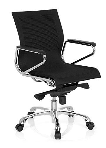 hjh OFFICE 660600 Bürostuhl ASTONA Stoff Schwarz Schreibtischstuhl mit Armlehnen und Wippfunktion