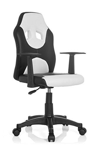 hjh OFFICE 670830 Kinderschreibtischstuhl KID RACER AL Kunstleder Schwarz-Weiß Drehstuhl mit Armlehne höhenverstellbar