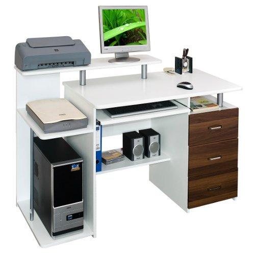 hjh OFFICE 673951 Computertisch Büro-Schreibtisch STELLA weiß walnuss mit Standcontainer, Tastaturauszug, Monitorpodest, viele Ablagefächer, robust gefertigt, einfacher Aufbau, PC-Workstation