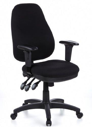hjh OFFICE 702000 Bürostuhl Drehstuhl ZENIT PRO Stoff schwarz, extrem dicke feste Polsterung, individuelle Verstellmöglichkeiten, höhenverstellbare Armlehnen, Schreibtischstuhl ergonomisch, Bürodrehstuhl