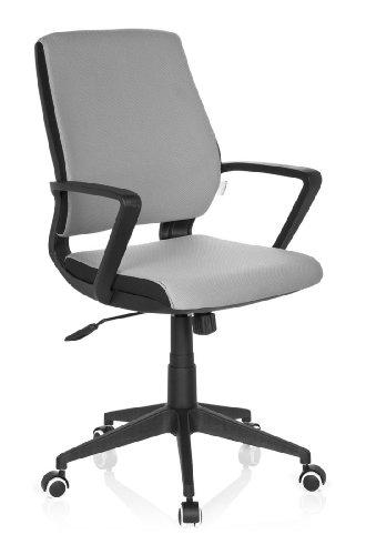 hjh OFFICE 719270 Bürostuhl ESTRA BLACK Stoff-Bezug Grau Schreibtischstuhl Büro-Drehstuhl Ergonomisch Armlehnen Home-Office