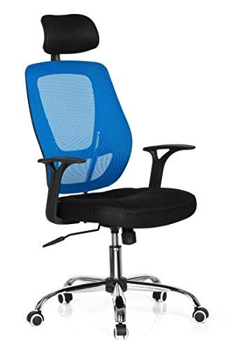 hjh OFFICE 719450 Büro-/Dreh Stuhl, Avido net I Stoff, schwarz / blau