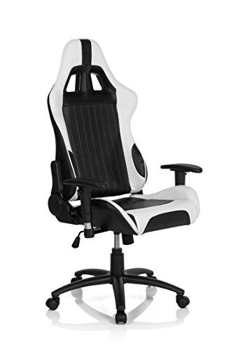 hjh OFFICE 729070 Gaming PC Stuhl MONACO II Lederimitat schwarz weiß, feste Polsterung, ideal zum Zocken, Chefsessel, verstellbare Armlehnen, Racing Stuhl, XXL Chefsessel, Gamer Stuhl