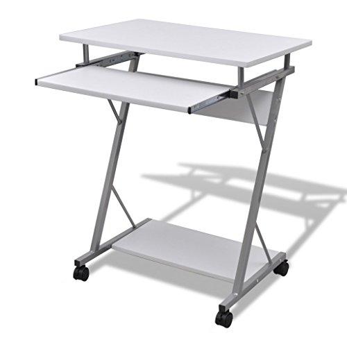 vidaXL Computertisch Schreibtisch Büro Computerwagen PC-Tisch Laptop Rollen weiß