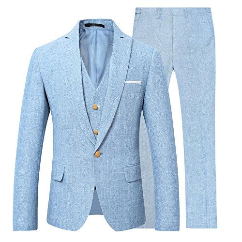 1 Knopf Herren Anzug 3 Teilig Leinen Hochzeitsanzug Regular Fit Business Hochzeit