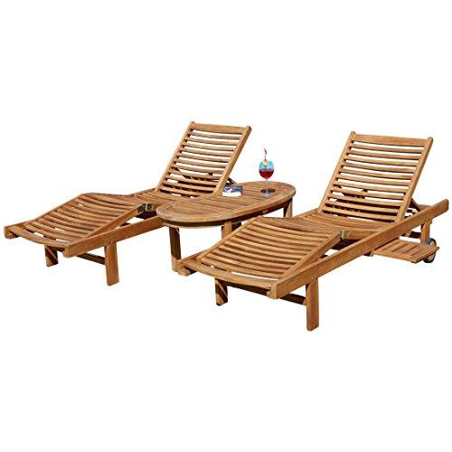 2x Hochwertige TEAK Sonnenliege Gartenliege Strandliege Liegestuhl Holzliege Holz geölt sehr robust Modell: COZY+ 1x Beistelltisch COCO 110x50cm von AS-S