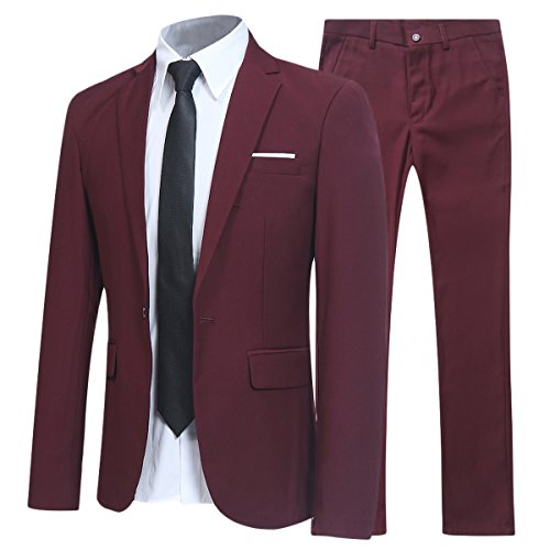 Allthemen Herren 2-Teilig SLIM FIT Business Anzug Weinrot Medium
