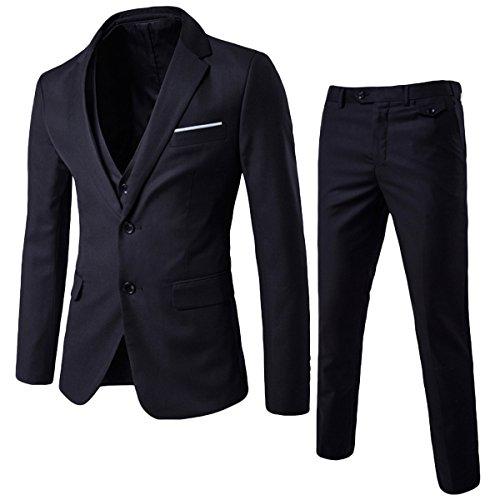 Allthemen Herren 3-Teilig Anzug Slim Fit Zwei Knöpfe Anzughose Anzugweste Schwarz Small