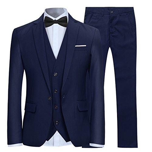 Allthemen Herren 3-Teilig Slim Fit Anzug Smoking Anzugjacke Hose Weste Blau X-Large