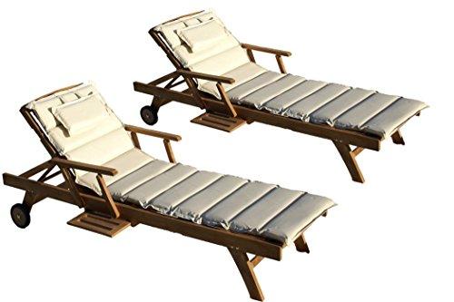 Baltico Teak Holz Liege Gartenliege Sonnenliege 2 Stueck + Auflage Creme11