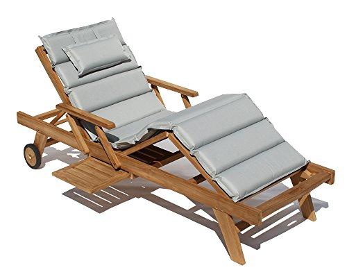 Baltico Teak Holz Liege Gartenliege Sonnenliege + Auflage Hellgrau11 Taupe