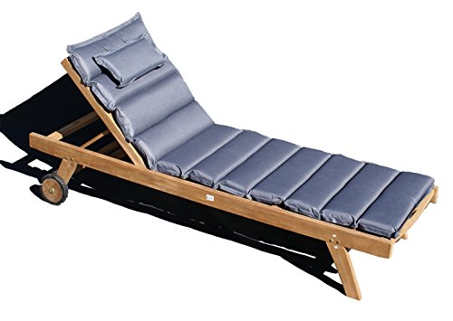 Baltico Teak Holz Liege Gartenliege Sonnenliege mit Auflage Grau 11