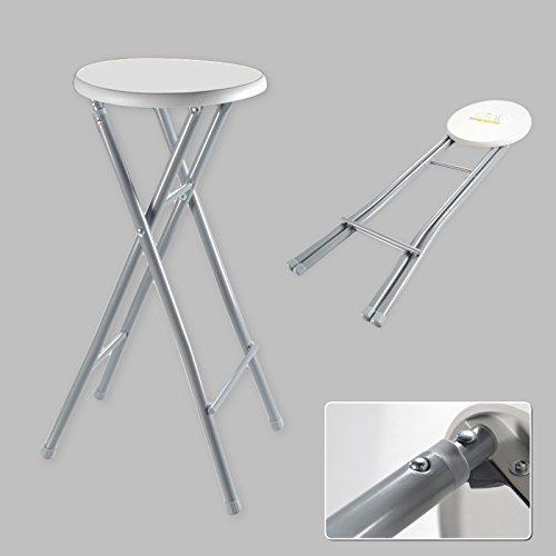 Barhocker XL Hocker Klapphocker Klappstuhl Stuhl Barstuhl Faltbar Metall Weiß Grau (1x)