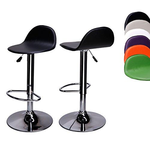 CCLIFE 2er-set Barhocker Barstuhl Höhenverstellbar Drehbar Bistrohocker mit Lehne Sitzhöhe 58-78 cm Mehrere Farben verchromter Stahl pflegeleichter Kunstleder, Farbe:Schwarz