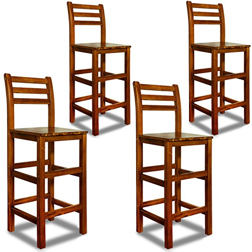 Deuba® 4er Set Barhocker | mit Lehne | massives Holzgestell | Akazienhartholz | praktische Fußablage - Hocker Tresenstuhl Barstuhl Stuhl Holz Edel