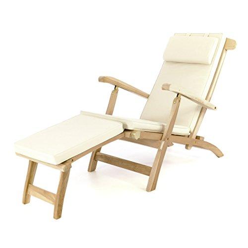 Divero Liegestuhl Deckchair Florentine Sonnenliege Steamer Chair mit Auflage Natur Creme