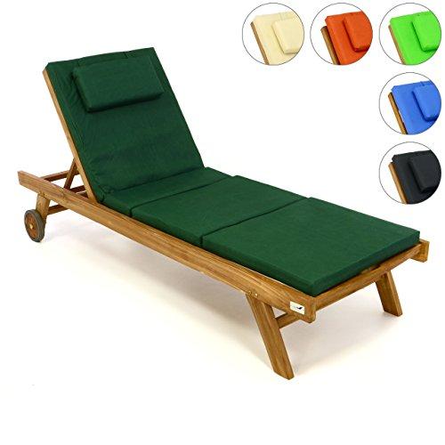 Divero Set Sonnenliege Holzliege Gartenliege Teak-Holz inkl. Räder verstellbares Kopfteil + Liegen-Auflage vierteilig Wasserabweisend Dunkelgrün