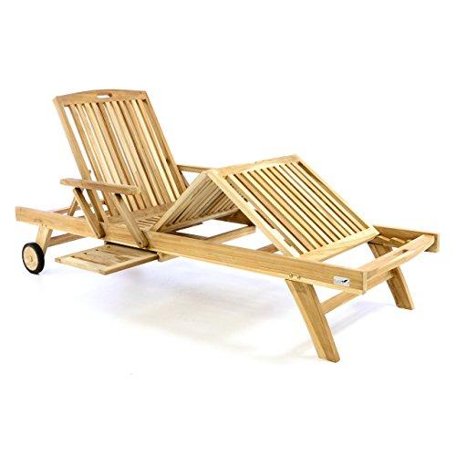 Divero Sonnenliege Holzliege Gartenliege Relaxliege Teak-Holz inkl. Räder Tablett – Lehne & Fußteil Mehrfach Verstellbar – unbehandelt Natur