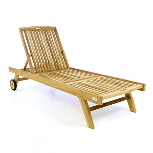 Divero Sonnenliege Holzliege Gartenliege aus unbehandeltem Teak-Holz mit Rollen und klappbarer Verstellbarer Rückenlehne