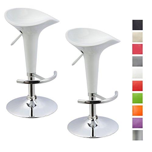Duhome Elegant Lifestyle® 2er Set Barhocker Kunststoff Weiß Barstuhl Versch. Farben Höhenverstellbar Tresenhocker Drehbar Design Hocker
