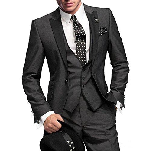 GEORGE BRIDE Herren Anzug 5-Teilig Anzug Sakko,Weste,Anzug Hose,Krawatte,Tasche Platz 002,S