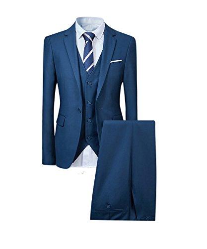 Herren Anzug Hochzeit Anzüge 3-Teilig Sakko Hose Weste (L, Hell Blau)