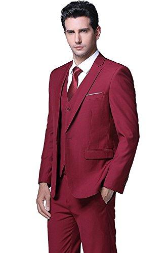 Herren Anzug Regular Fit Business Anzüge 3-Teilig Anzugjacke Anzughose Weste Rot XS