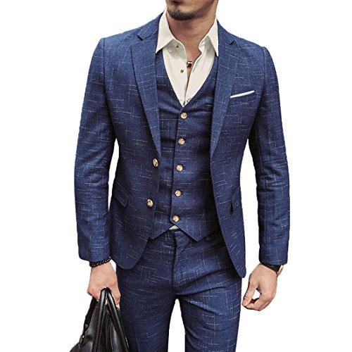 Herren Anzug Slim Fit 3 Teilig mit Weste Sakko Anzughose Business Smoking von Harrms (Blau, L/50)