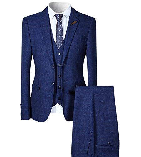 Herren SLIM FIT Business Kariert Modischer Anzug 3-Teilig Sakko von Allthemen Marineblau Medium