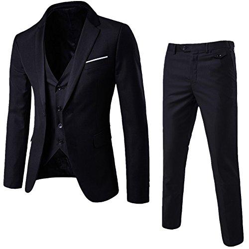 Herrenanzug Herren Slim Fit 3-Teilig Business Anzüge mit Weste Sakko Anzughose Schwarz S