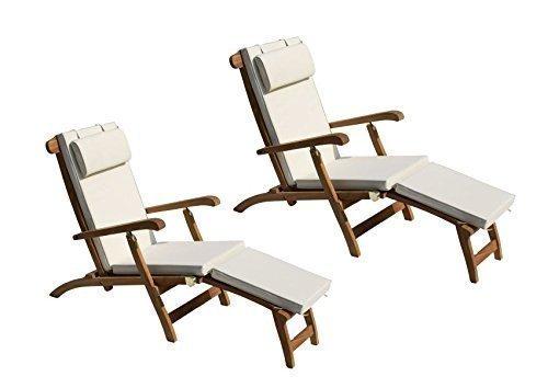 Liegestuhl Teak Holz Massiv Deckchair // 2 Stück // Inkl. Auflagen Creme