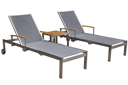 OUTFLEXX 2er-Set Sonnenliegen, silber, Edelstahl/Teak, mit Beistelltisch 45 x 45cm